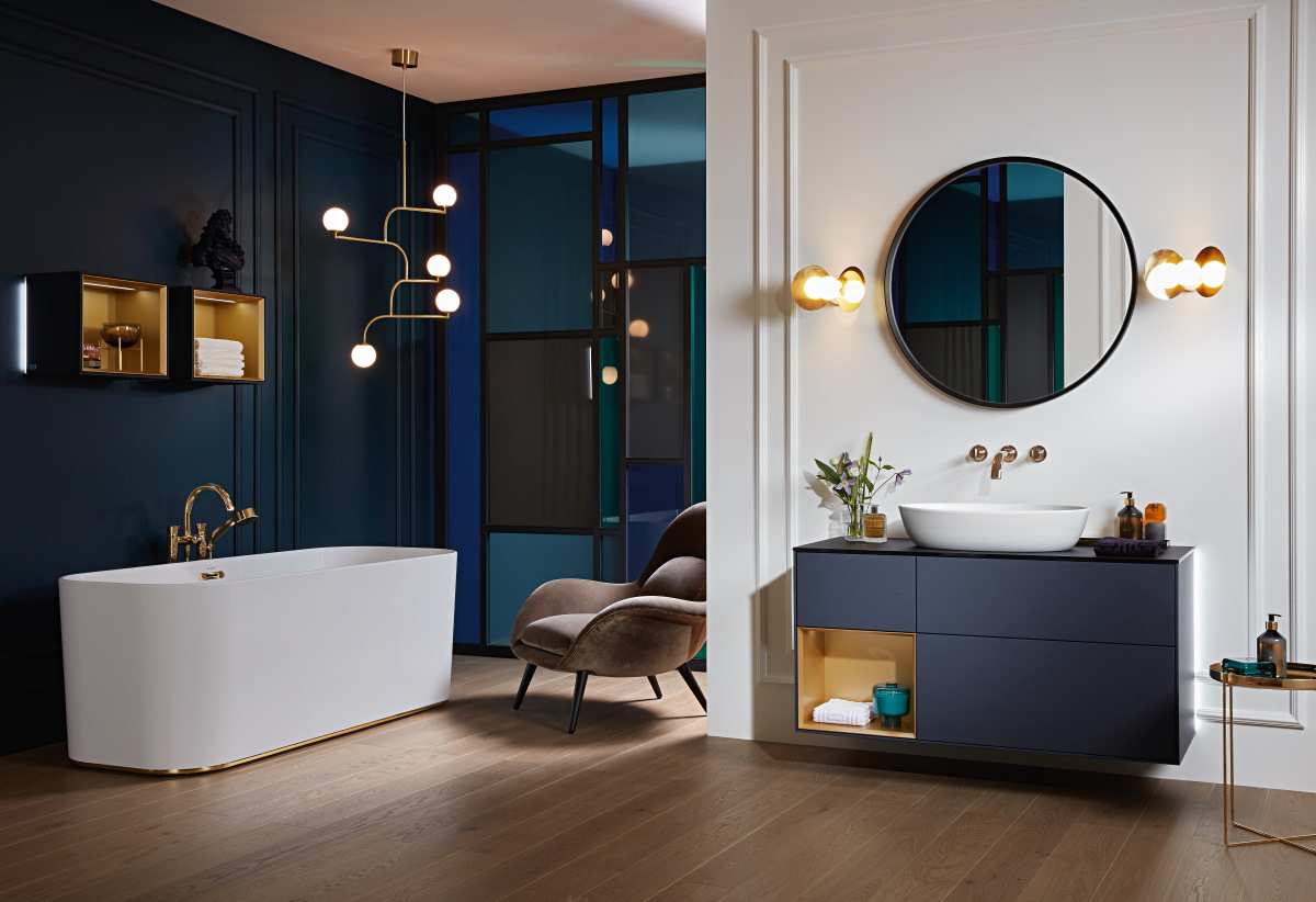 V&B Finion Blue and Gold   Cheshire Tile and Bathroom Studio